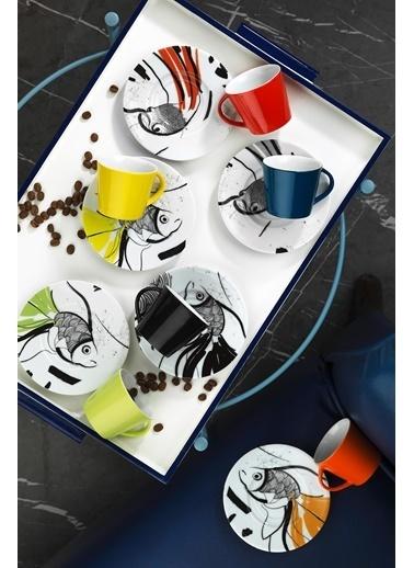 Kütahya Porselen Toledo 8304 Desen Kahve Fincan Takımı Renkli